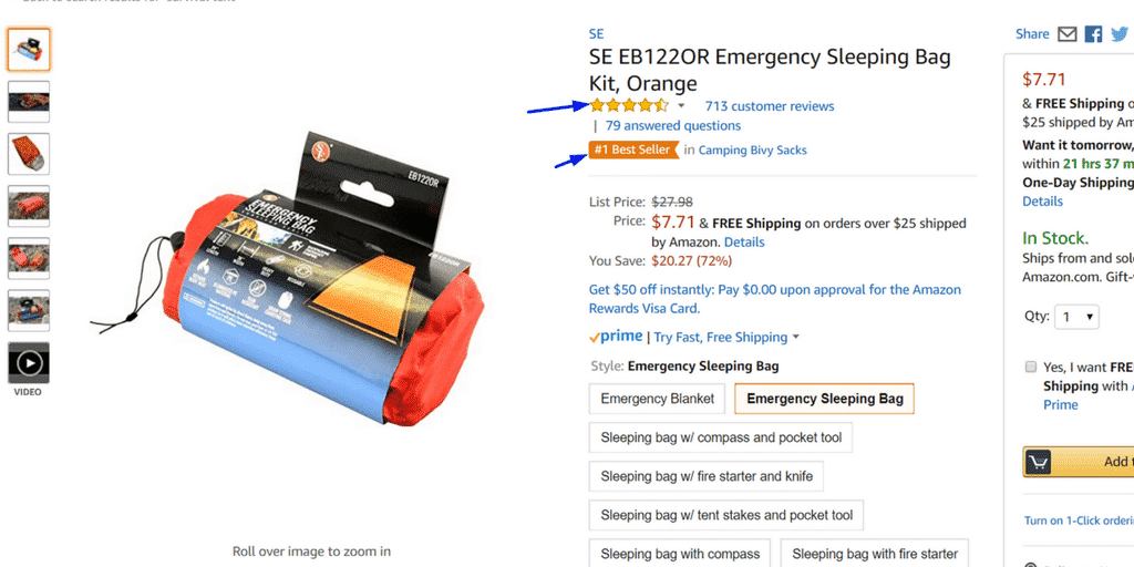 Okay, we've now clicked on that survival tent listing of 700+ reviews because, of course we did!  You see where this is going? Now it's time to buy but what makes us do that?  What makes us convert? Well in this instance, Amazon product reviews significantly increase the conversion rate on a listing.