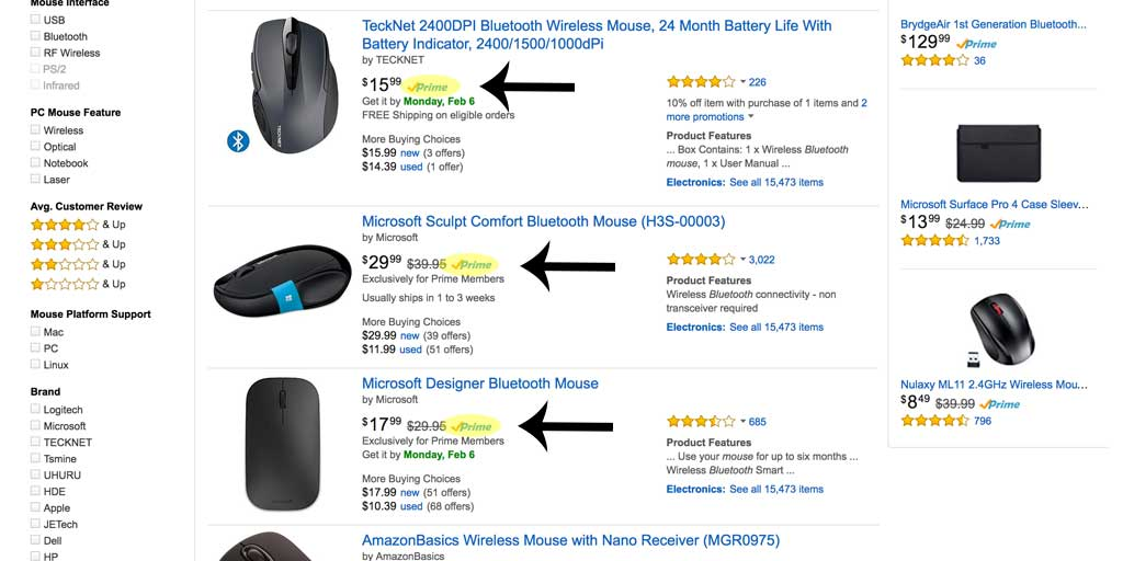 Notice that many highly ranking products on Amazon are FBA, like these top ranking bluetooth mouses.