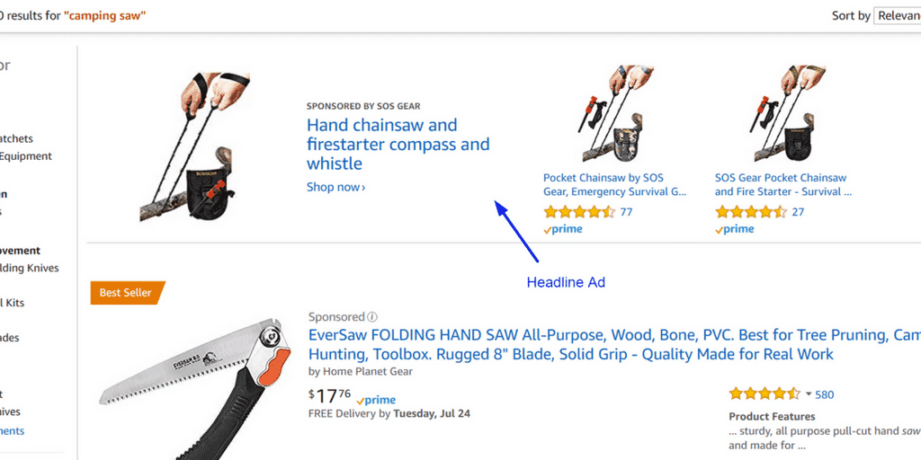 Amazon headline Search Ads are keyword selected ads that are only available to vendor central sellers that appear at the top of Amazon product searches.