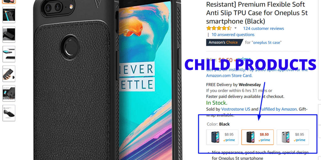 Amazon SEO - These are child products.  The different colors of the case are not separate products all together with a different ASIN, rather they are child products of the parent product.