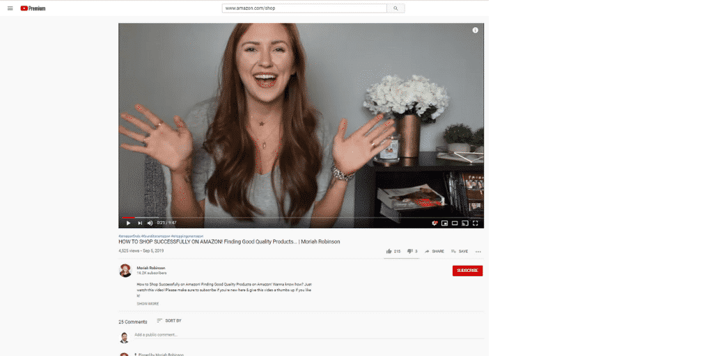 Example Amazon Influencer on YouTube