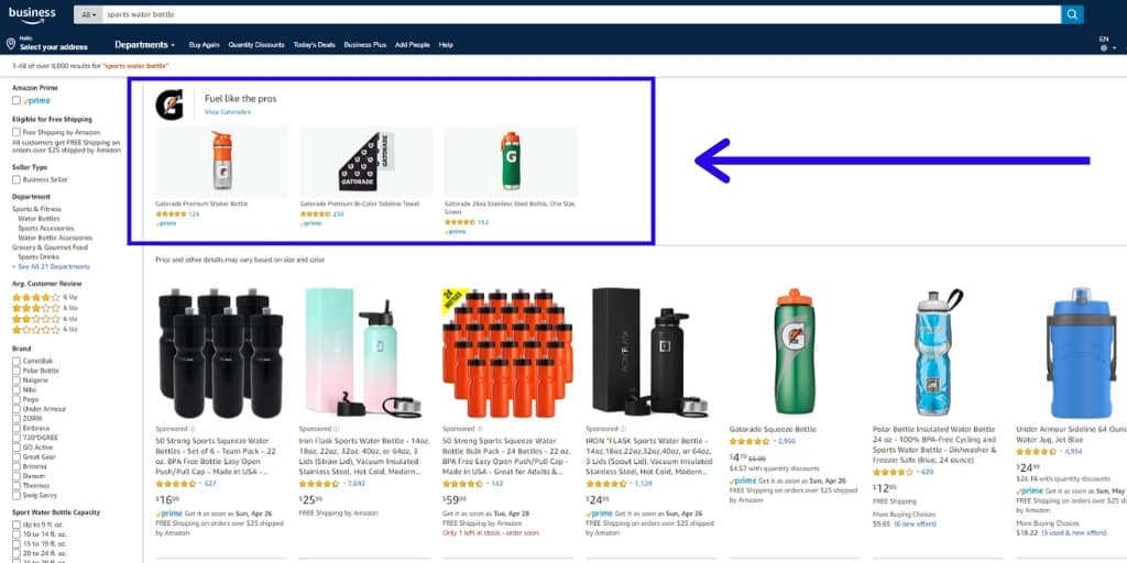 Amazon Sponsored Brands Ad Example - Amazon Advertising The Complete Guide - The Source Approach - Amazon Consultant and eCommerce Consultant