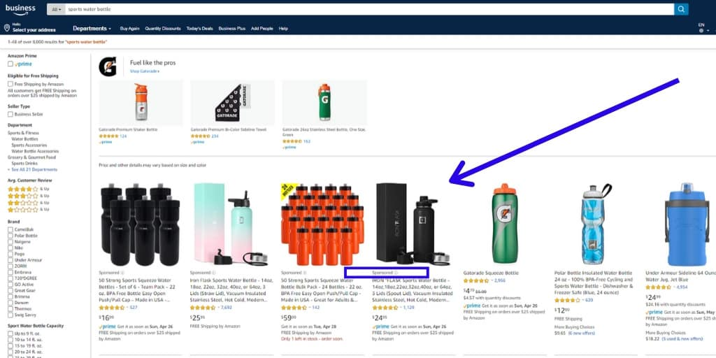 Amazon Sponsored Products Ads Example - Amazon Advertising The Complete Guide - The Source Approach - Amazon Consultant and eCommerce Consultant